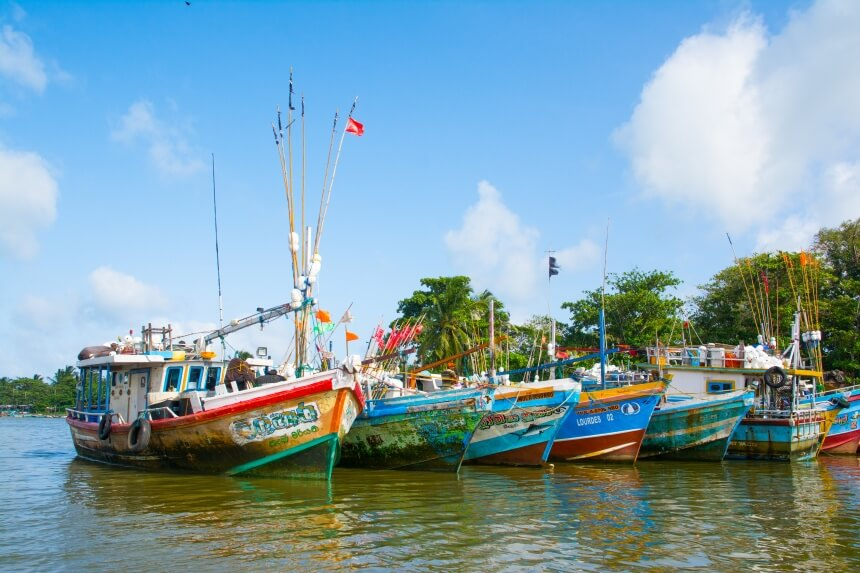 Boten in de haven van Negombo