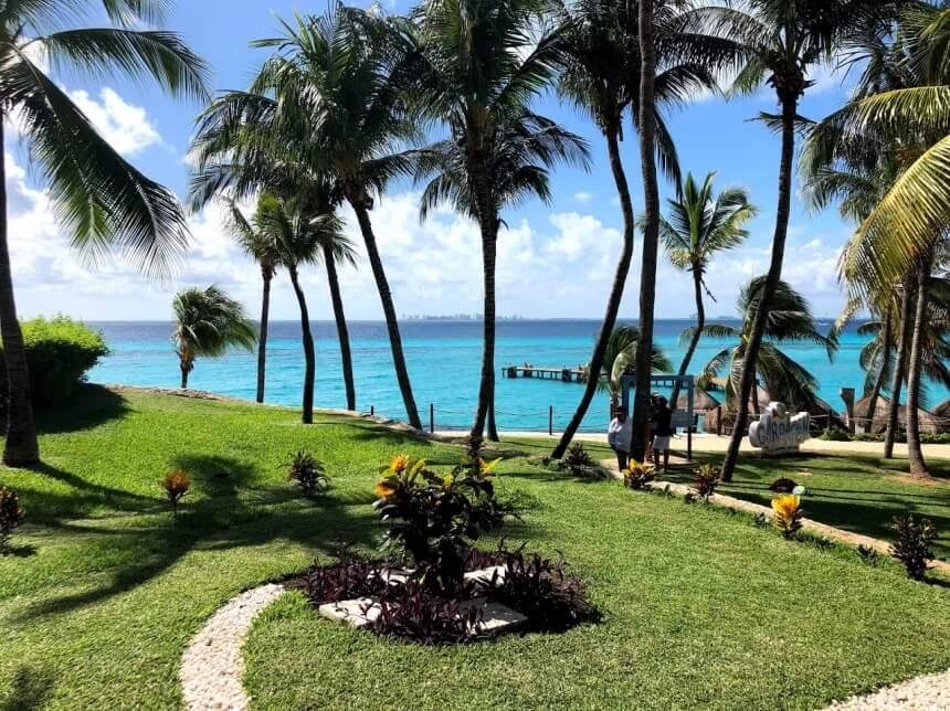 Palmbomen in Garrafon op Isla Mujeres in Mexico