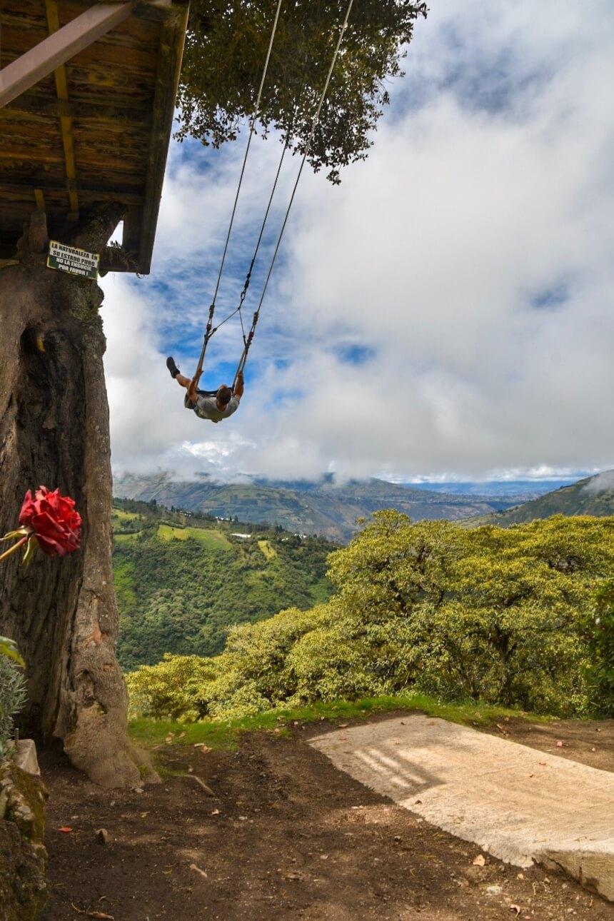 Schommelen in Baños in Ecuador