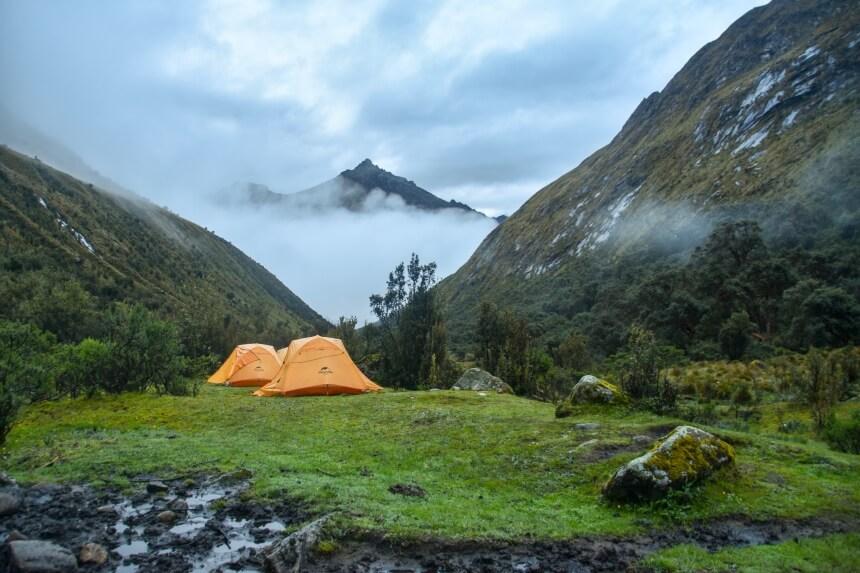 Tentjes in Cordillera Blanca in de Andes in Peru