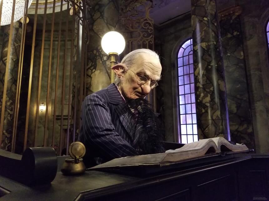 Goblin in Gringotts bank in Universal Orlando