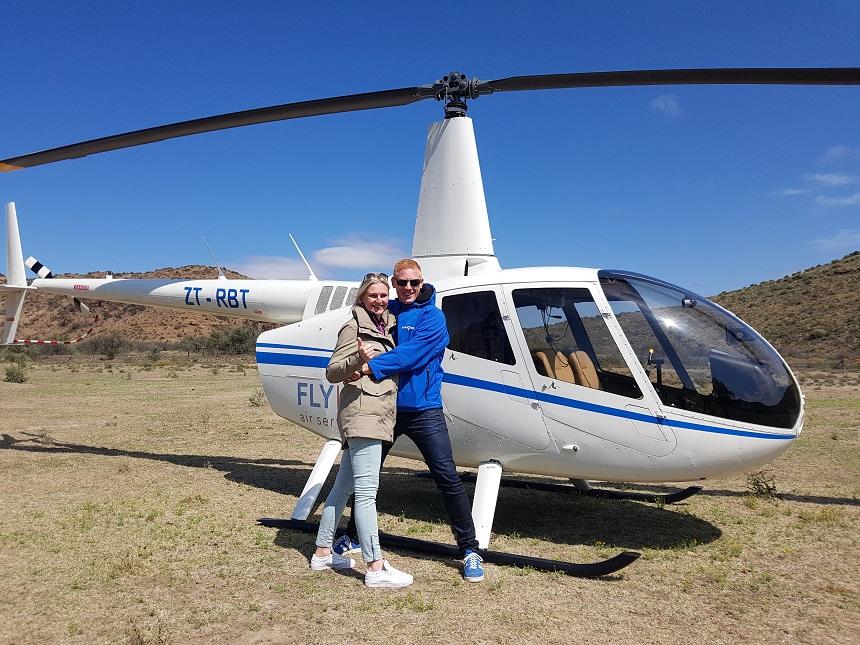 Helikopter vlucht over het Karoo landschap en de Valley of Desolation