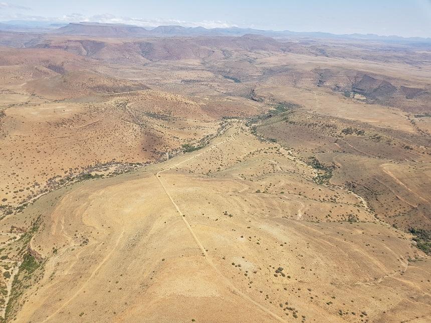 Het Karoo landschap in de Oost-Kaap vanuit de lucht