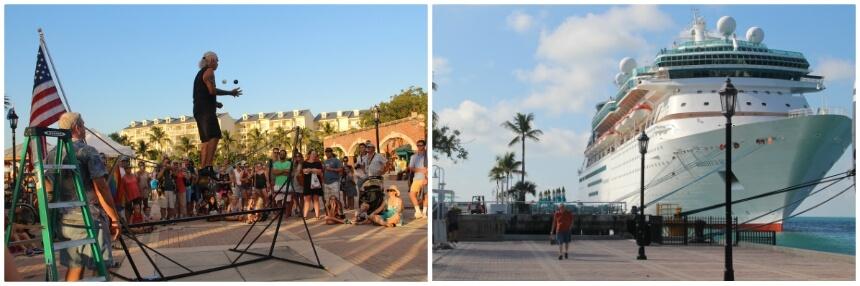 Tijdens de Sunset Celebration treden diverse straatartiesten op