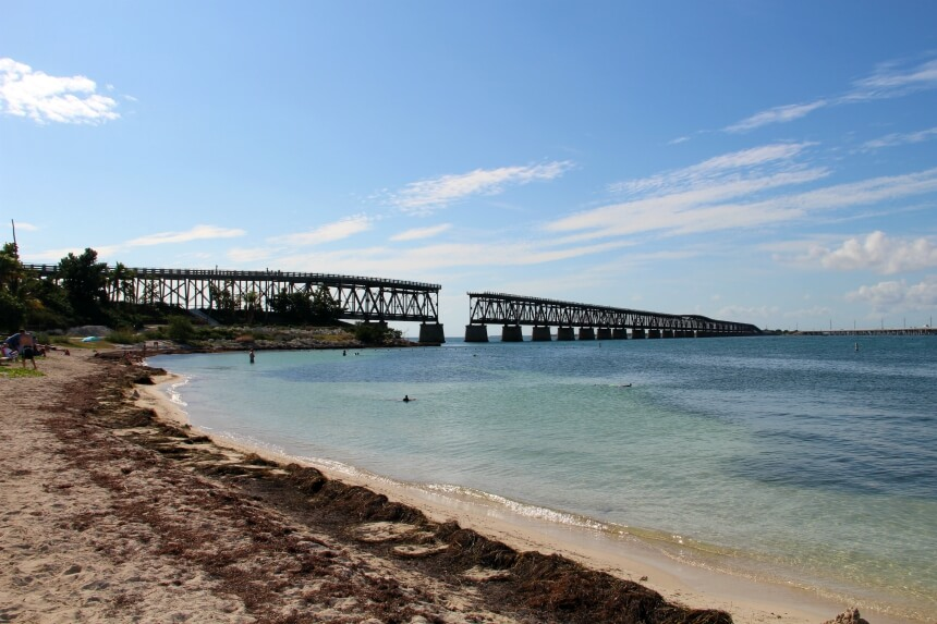 De Old Seven Mile Bridge is na een orkaan in verval geraakt en afgesloten