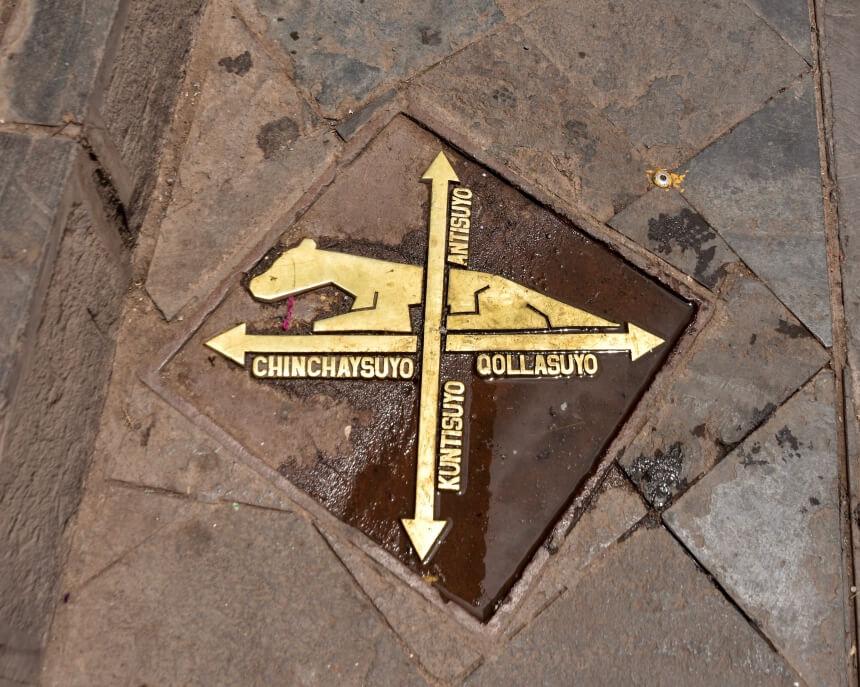 Symbool van het midden van de Inca samenleving in Cusco, Peru
