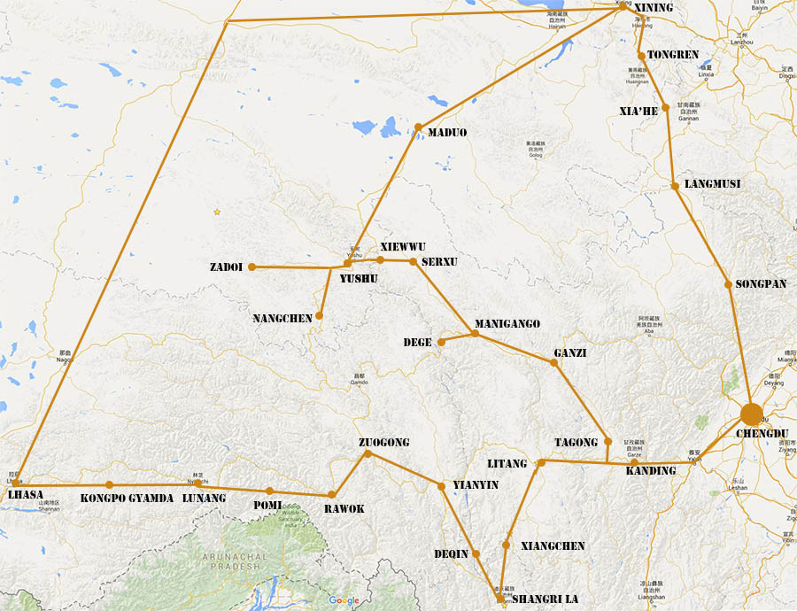 China - Routes door Tibetaanse gebieden. -T. Molenaar-