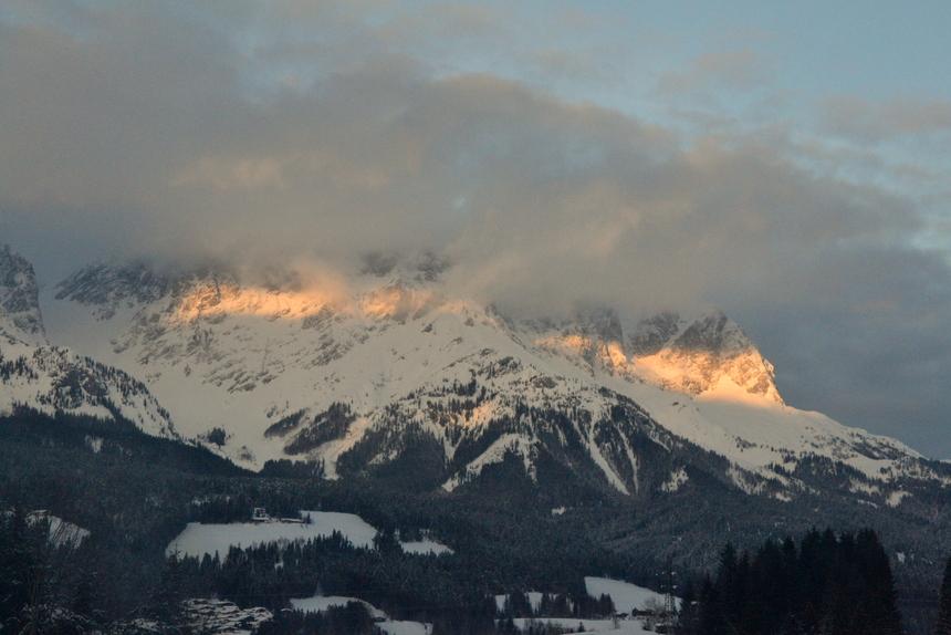 Het Wilder Kaiser gebergte tijdens zonsondergang