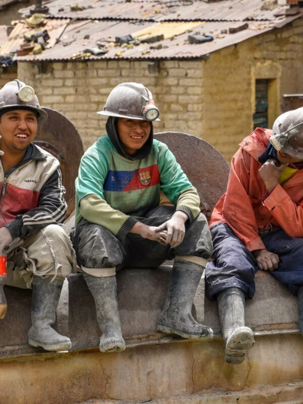 Mijnbouwers in Potosi in Bolivia