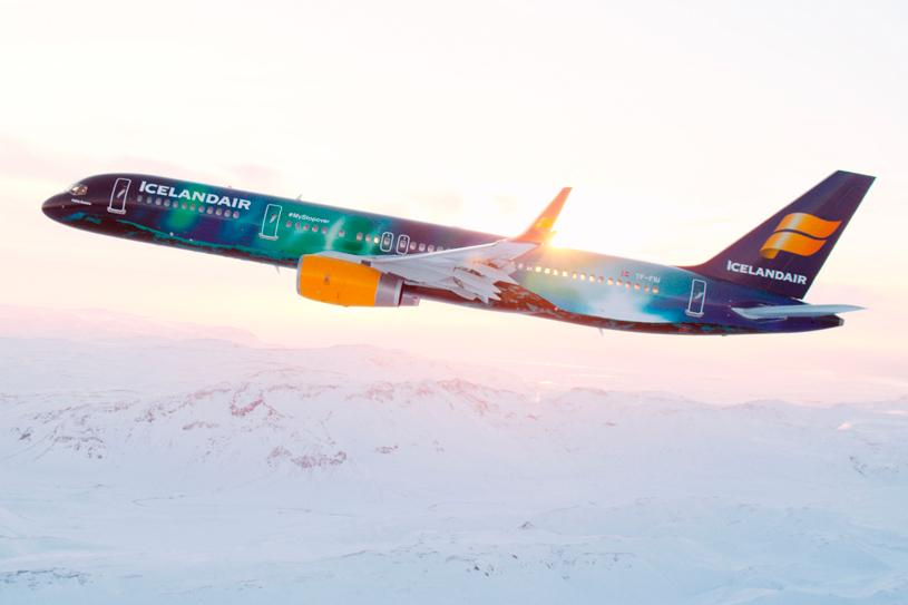 ekla Aurora is het vliegtuig van Icelandair met het Noorderlicht-thema.