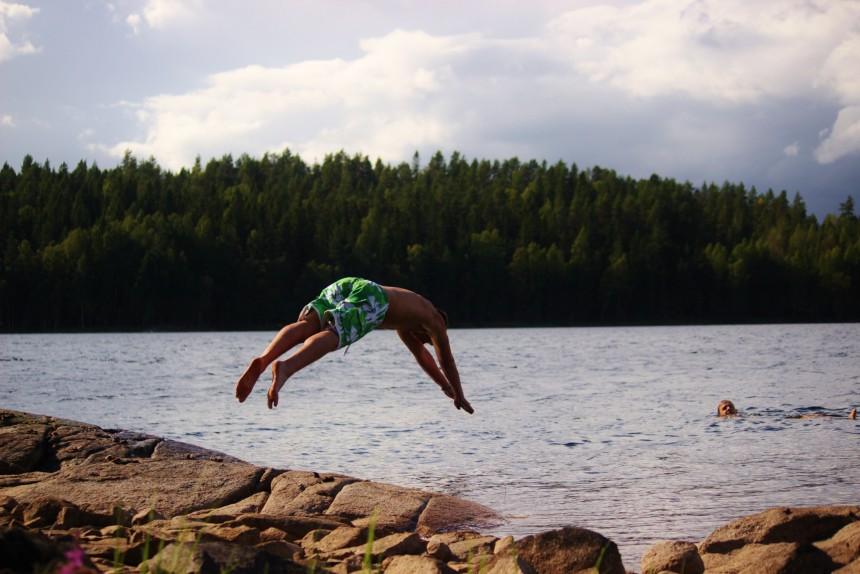 Zwemmen meren Zweden