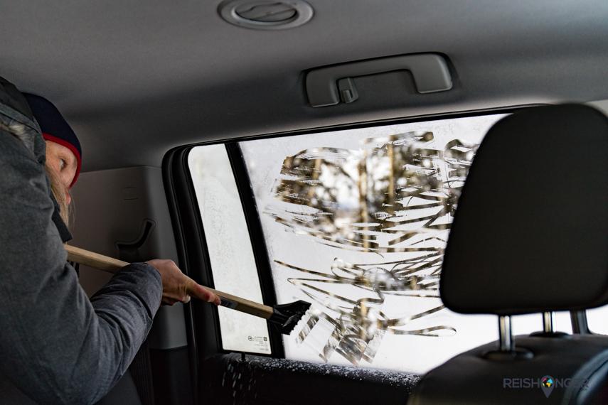 Winters Yukon: ruiten krabben in de auto