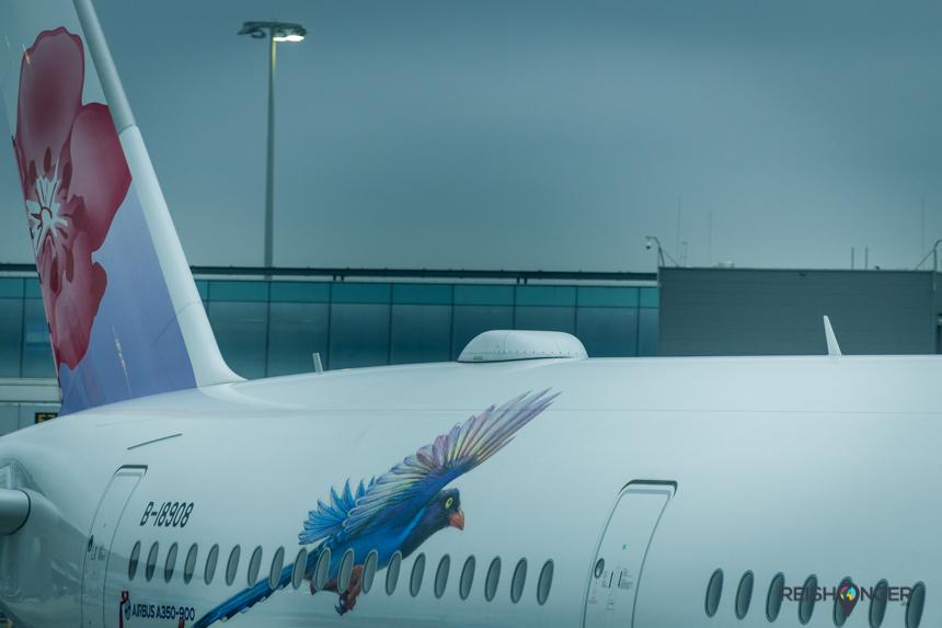 De huisstijl van China Airlines wordt mooi overgebracht op de vliegtuigen