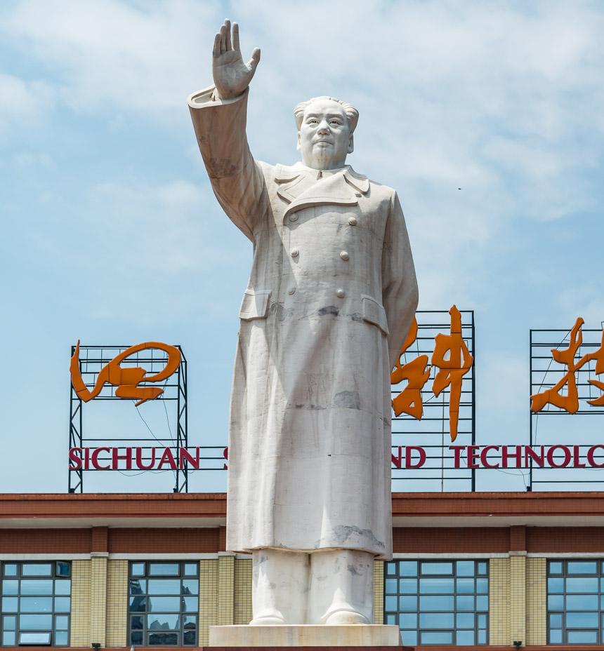 Beeld van Mao in Chengdu