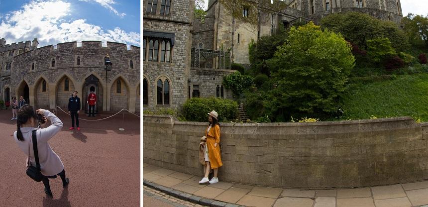 Alle toeristen in het Windsor kasteel zijn al een attractie op zich