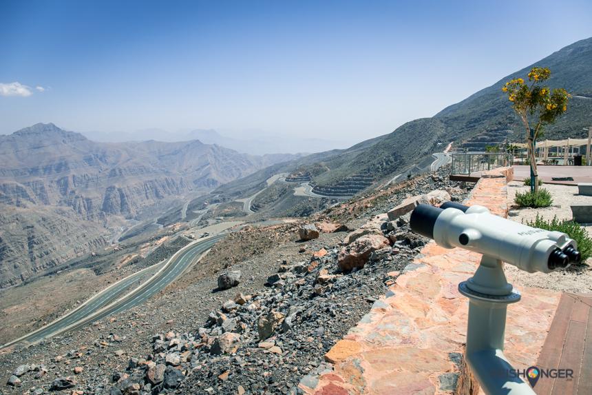panoramadek met uitzicht op Jebel Jais Mountain