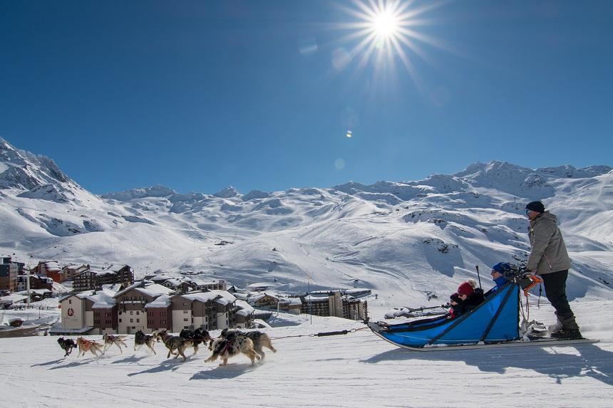 winteractiviteiten in Val Thorens huskeytocht