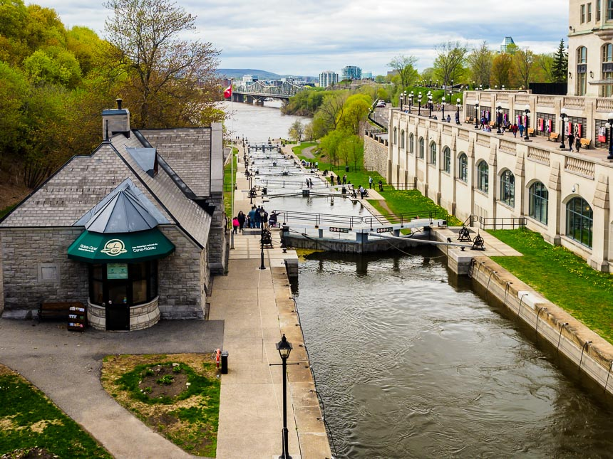 Ottawa - de sluizen van het Rideau kanaal