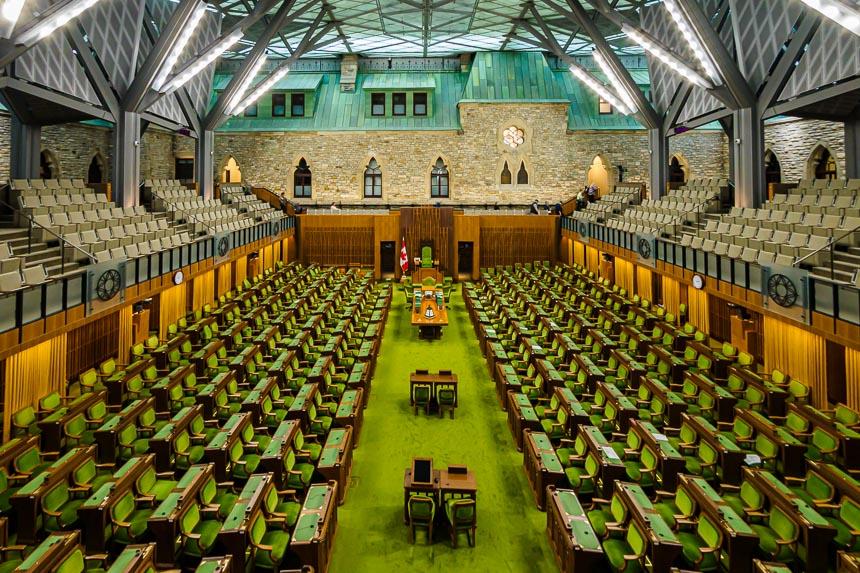 De vergaderzaal van het house of Commons - Ottawa