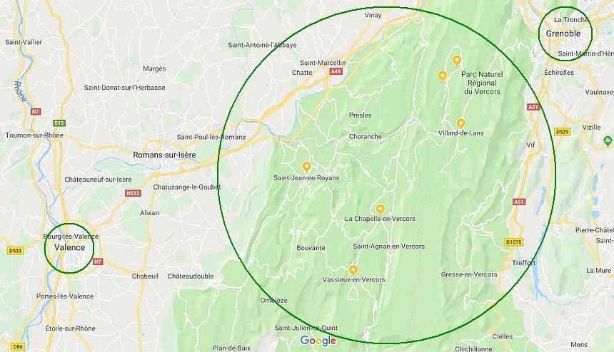 Het hart van de Vercors ligt tussen Valance en Grenoble.