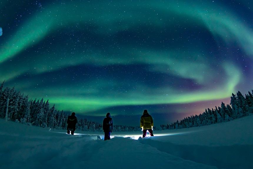 Noorderlicht safari in Fins Lapland