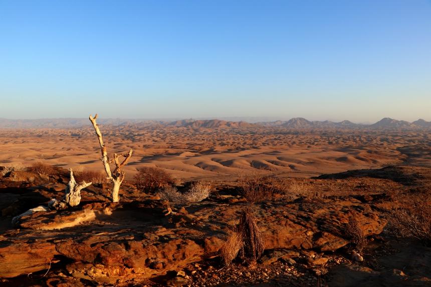 Prachtig uitzicht over de woestijn van Namibie