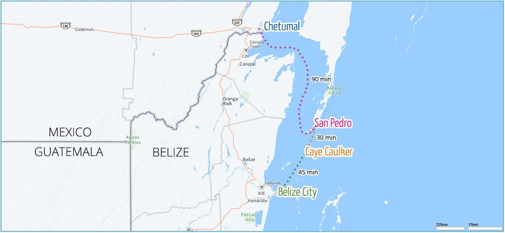Belize watertaxi - ferry naar de cayes