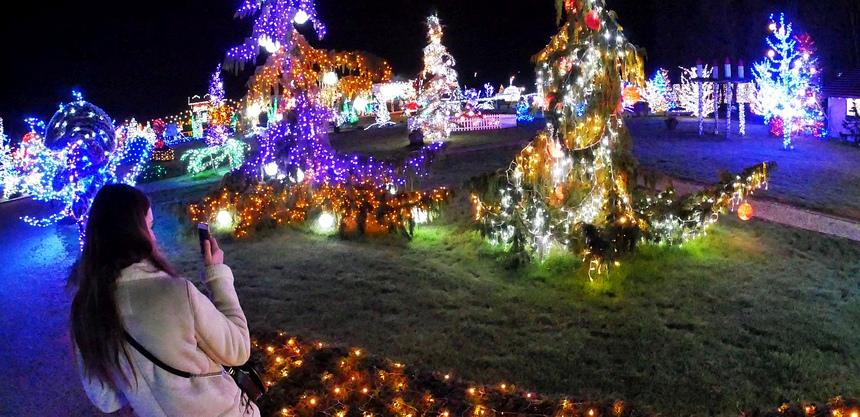 In de tuin van de familie Salaj hangen 5.000.000 lampjes.
