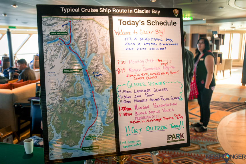 Typical cruise ship route in Glacier Bay