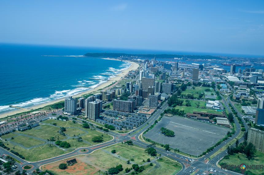 Met de helikopter boven Durban