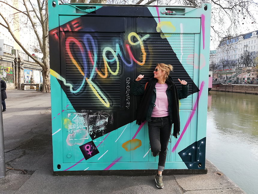 Donau, fietsen, Wenen, Vienna, graffiti
