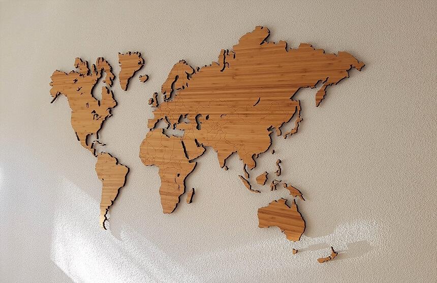 De bamboe wereldkaart van City Shapes