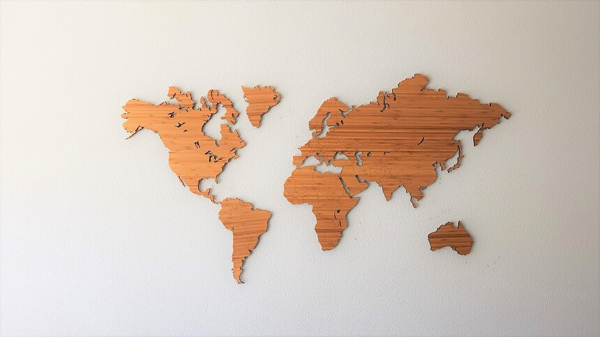 De contouren van de wereldkaart worden steeds zichtbaarder