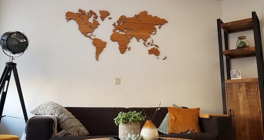 De bamboe wereldkaart is een echte eyecatcher