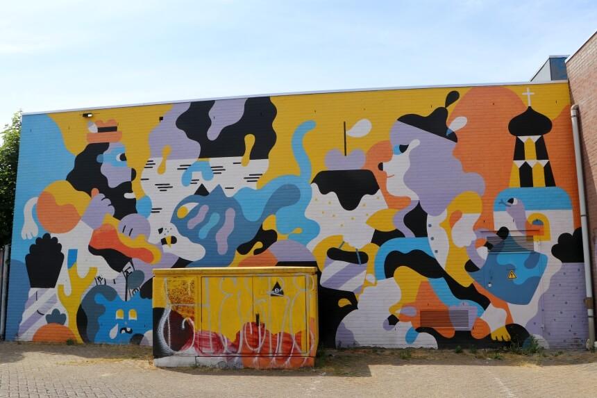 De Nederlandse Hedof maakte meerdere muurschilderingen in Breda