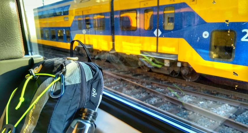 Duurzaam reizen met de trein: 100% windenergie.