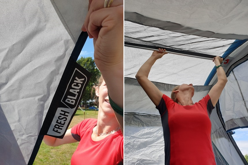 Versteviging leefruimte tent - Een aluminium stang in de leefruimte verleent de structuur meer stijfheid