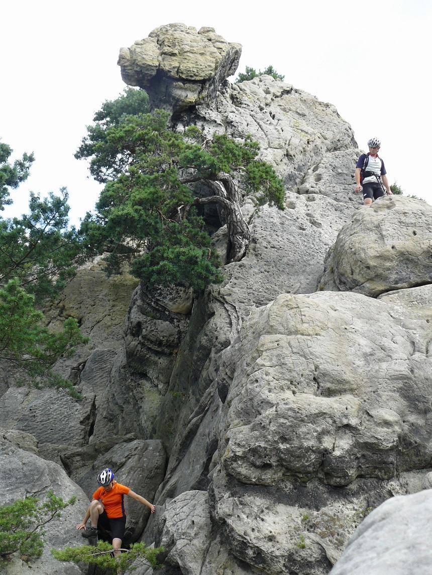 Klauteren naar de top van het Hockendes Weib - vakantieregio Teutoburger Woud