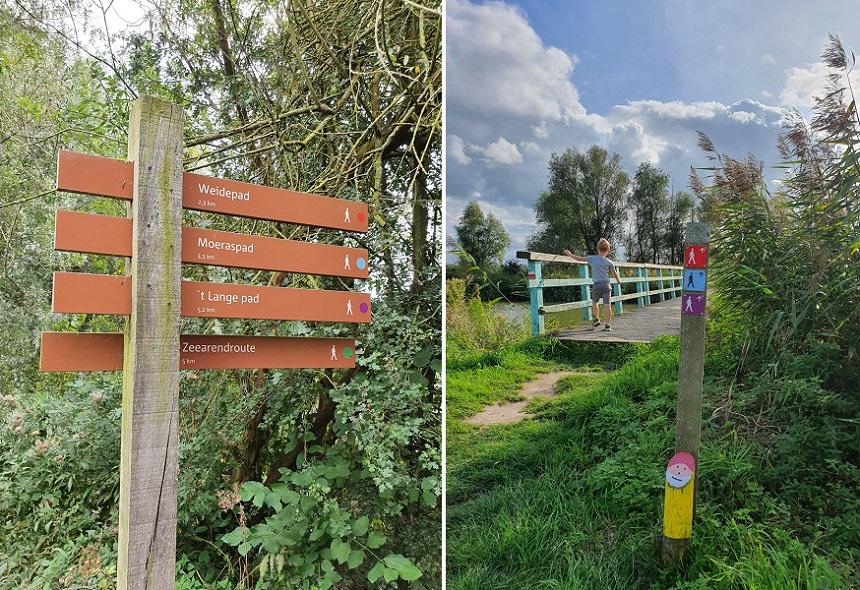 Er lopen 4 wandelroutes door het gebied van verschillende lengtes