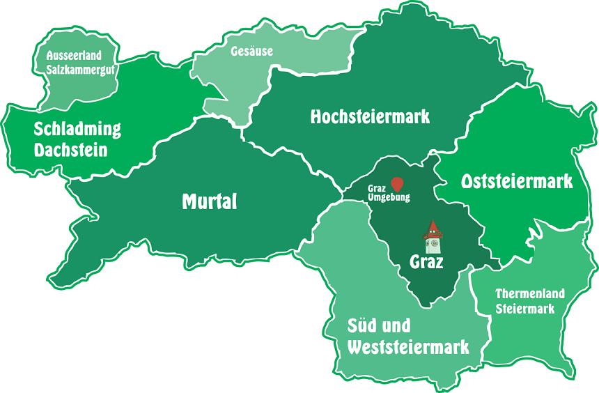 Kaart van Stiermarken (allesgutleben.at)