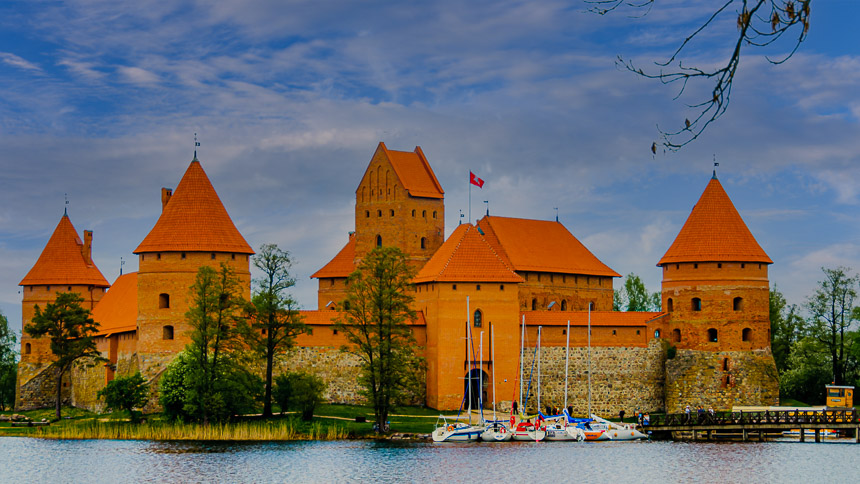 Het kasteel van Trakai een van de mooiste in de Baltische staten