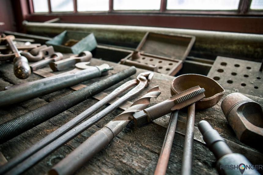 Ruhr Museum - het gereedschap ligt nog op de werkbanken